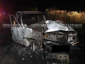 Teen seriously injured after car crashes, bursts into flames