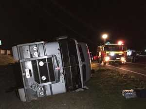 Truck rolls and blocks Warrego Highway overnight