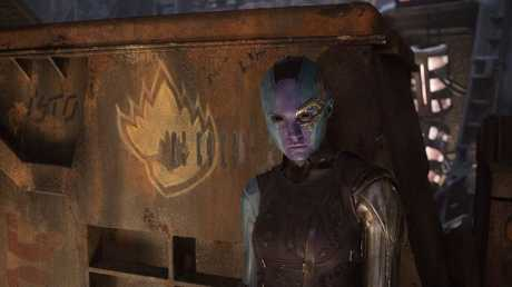 Karen Gillan as Nebula in a scene from the movie Guardians Of The Galaxy Vol. 2.