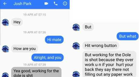 Text message exchange between Iain Park and his son Josh Park-Fing.