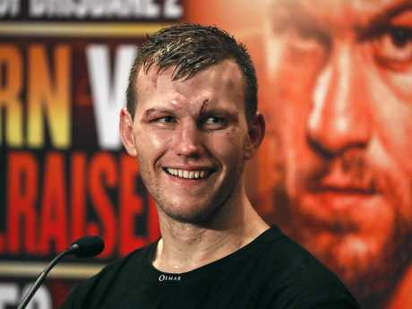 WBO World Welterweight Champion Jeff Horn  at a press conference after his  fight with UK boxer Gary Corcoran.