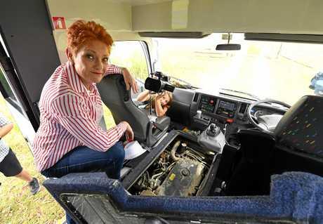 One Nation leader Pauline Hanson on the 'Battler Bus'.