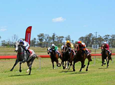 Competitors vie for first place in the Carlton BenchMark 60 Handicap (1200m).