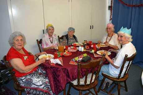 Betty Sinn, Pam Vaughan, Margaret Scott, Elsie Williams and Heather Mottram enjoy the