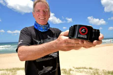 Tony Isaacson with the shark deterrent technology. He is supportive of non-lethal technology replacing shark nets and drum lines.