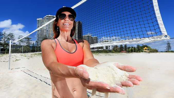 NOT GOOD ENOUGH: Wendy Van Den Akker puts the Coolangatta Commonwealth Games Beach Volleyball sand through a test.