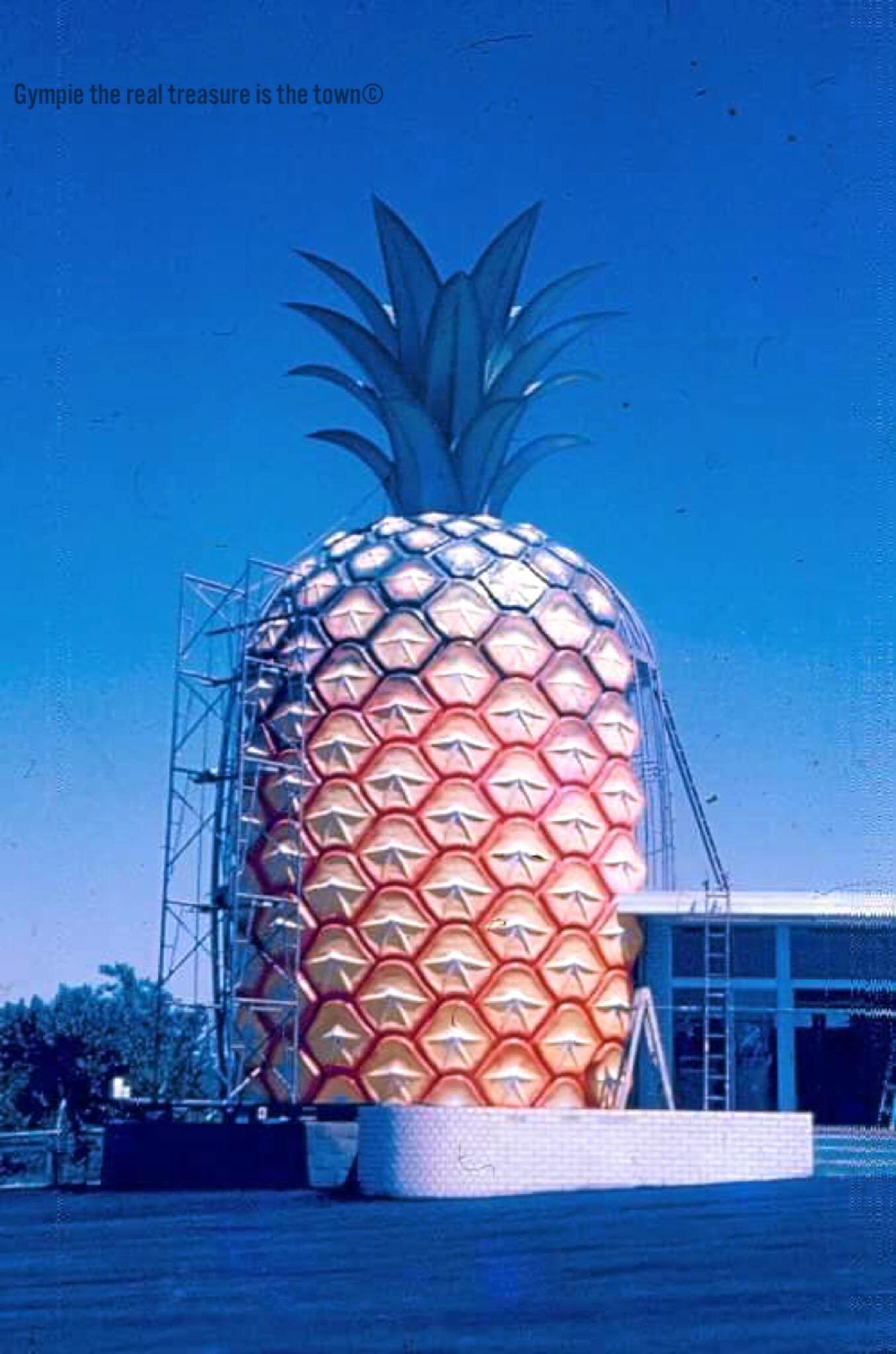 Gympie's long-lost landmark - the Big Pineapple - pictured here as an almost complete construction. Photo courtesy of David English and Gympie: The real treasure is the town FB page.