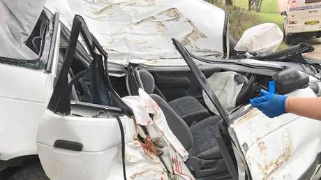 ABOVE AND BELOW: Tenille Petrie was pulled from the wreckage of her car along Ellis Rd, South Grafton.