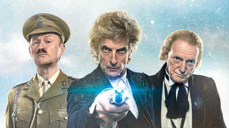 Mark Gatiss, Peter Capaldi and David Bradley in a scene from Doctor Who: Twice Upon a Time.
