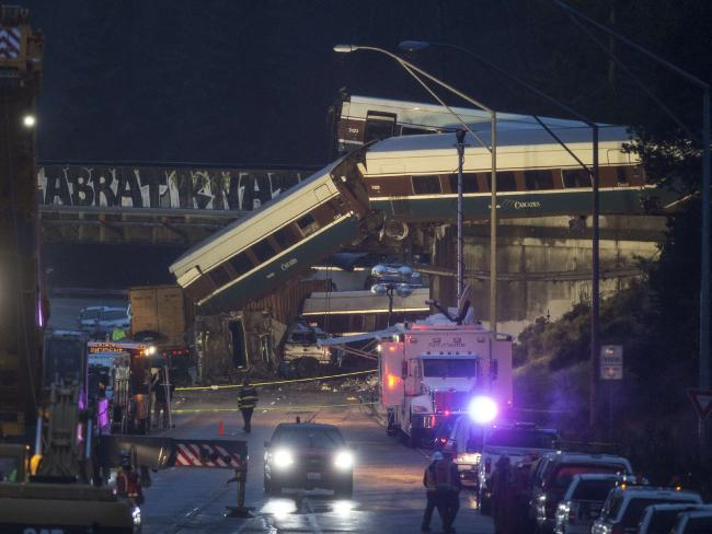 Emergency services worked into the night to remove the wreckage. Picture Stephen Brashear/Getty Images/AFP