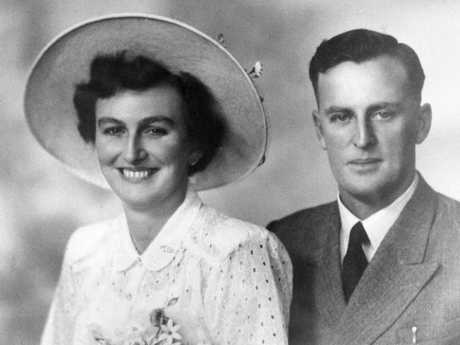 Joh Bjelke-Petersen and Miss Florence (Flo) Gilmour on their wedding day in May 1952.