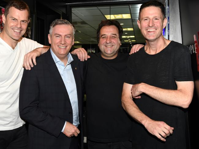Luke Darcy, Eddie McGuire, Mick Molloy and Wil Anderson at Triple M. Picture: Nicole Garmston
