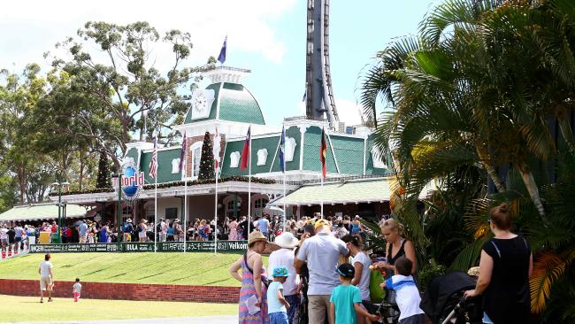 People line up to get into Dreamworld as its packed at the start of the school holidays. Pics Adam Head