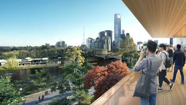 An artist's impression of the view from Apple's new flagship store in Melbourne, due to be completed in 2020.