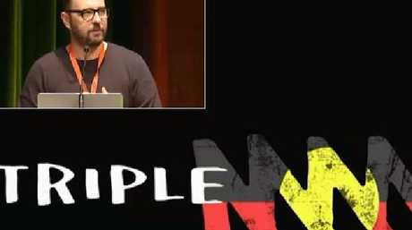 Triple M's Mike Fitzpatrick (inset) and Triple M's logo this past Australia Day. Pic: Radio I Love It