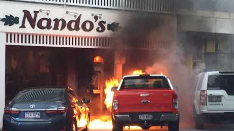Emergency services rushed to the scene of a vehicle fire in front of Nando's on Abbott St.