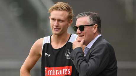 Jaidyn Stephenson of the Magpies meets Eddie McGuire.