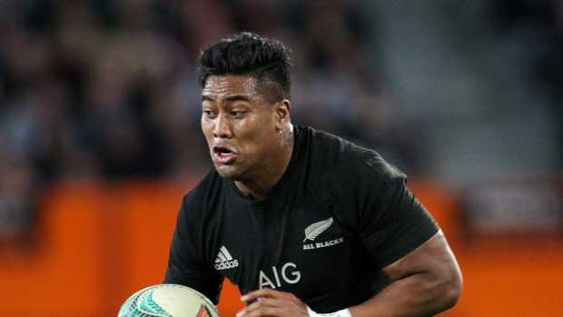 Julian Savea of New Zealand on the attack against Wales.