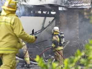 Crews battle house fire
