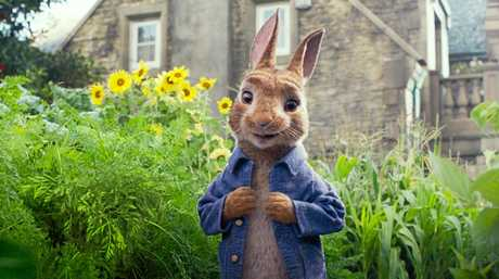 The character Peter (voiced by James Corden) in a scene from the movie Peter Rabbit.
