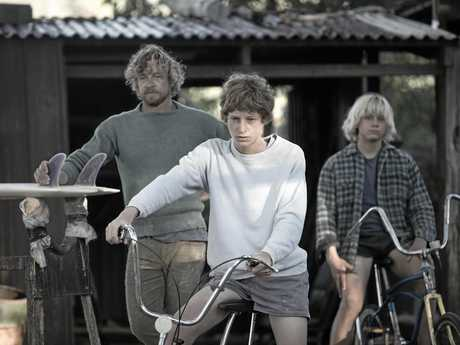 Simon Baker, Samson Coulter and Ben Spence in a scene from the movie Breath. Supplied by Screen Australia.