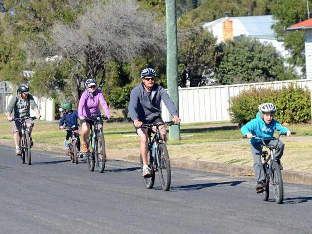 BIKING FIT: South Burnett Mountain Bike Club members hit the rail trail.
