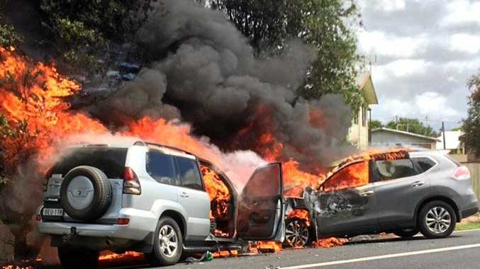 Two cars burst into flames after they were involved in a head on collision on the Pacific Highway at Ulmarra on Sunday, November 19, 2017.