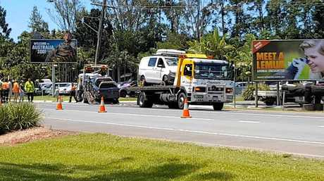 Tow trucks clear the scene of a fatal December 16 crash on Steve Irwin Way at Beerwah.