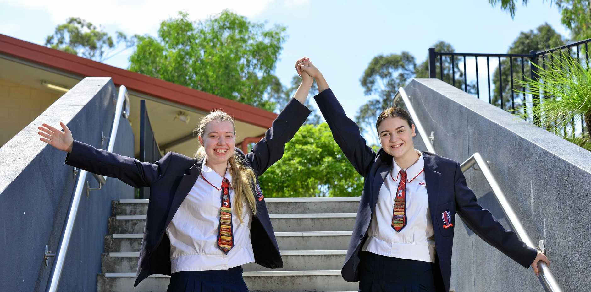 The Springfield Anglican College students Tiana Hogrefe (left) and Erin Clark both achieved excellent OP results to complete their year 12 studies.