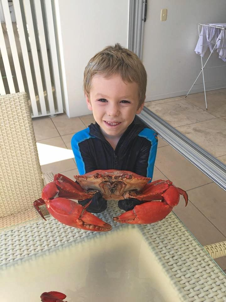 LITTLE FISHMAN: My good friend's boy, Ari Innes, who is a mad keen angler loves crabbing with his Dad Mitchell and Pop John Innes when they go up to Rainbow Beach fishing.