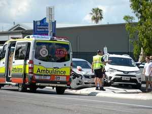 Ambulances rush to three-vehicle crash entrapping one