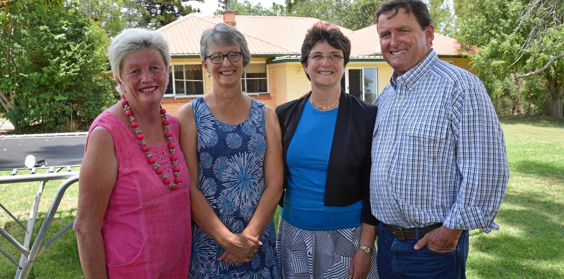 FAREWELL, MUM: The Bjelke-Petersen family, Ruth Cummins, Helen Folker, Meg Noack and John Bjelke-Petersen, at Bethany.
