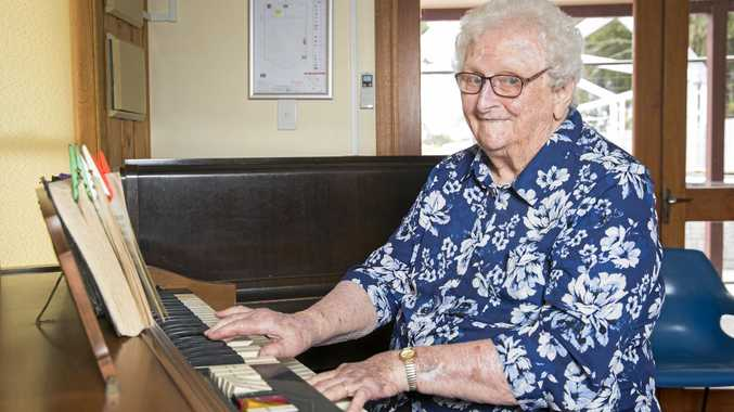FINAL HONOUR: Lady Flo playing the organ at Orana.