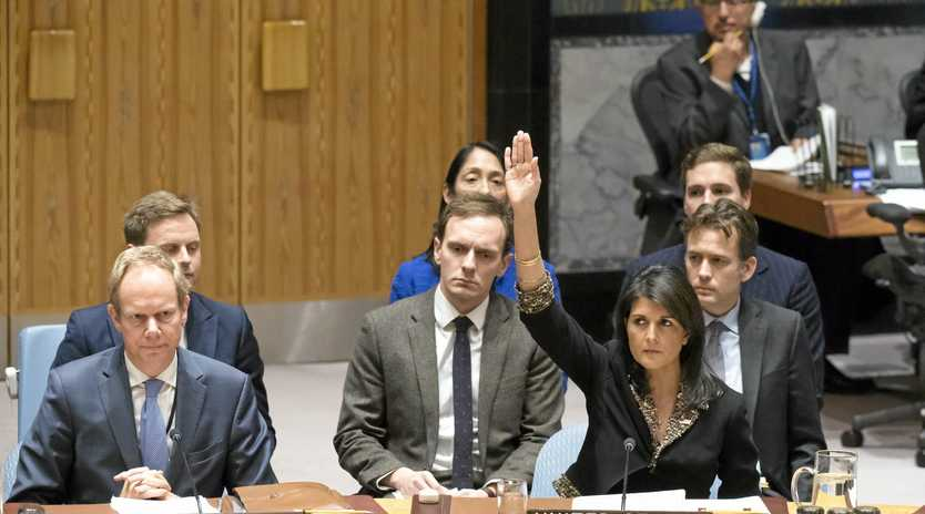 The US Ambassador to the UN, Nikki Haley, vetoes a Security Council resolution on Jerusalem on Monday.