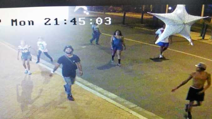 Surveillance footage of the seven young people captured allegedly stealing Christmas decorations at South Grafton News and Gifts.