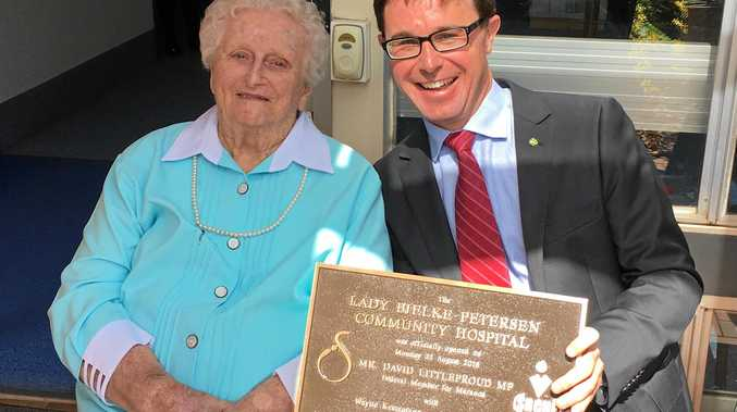 LASTING LEGACY: Lady Florence Bjelke-Petersen and Member for Maranoa David Littleproud opening Kingaroy's Lady Florence Bjelke-Petersen Community Hospital.