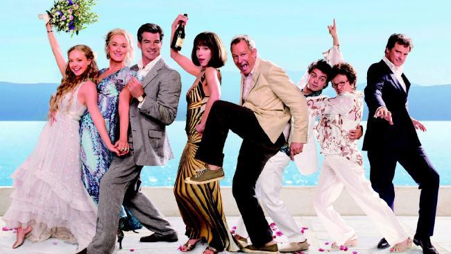 The Mamma Mia! cast (Amanda Seyfried, Meryl Streep, Pierce Brosnan, Christine Baranski, Stellan Skarsgard, Dominic Cooper, Julie Walters and Colin Firth) reunite in Mamma Mia! Here We Go Again. Picture: Supplied