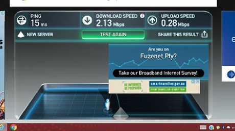 Speed test from Mark Roberts taken at 3.22pm on November 11 showing a download speed of 2.13Mbps