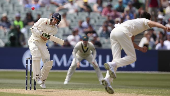 Mitchell Starc sends one down to Dawid Malan in the Adelaide Test. Picture: AP