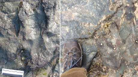 A before and after photo of a dinosaur footprint that was damaged by vandals. Picture: AAP Image/Supplied by Parks Victoria