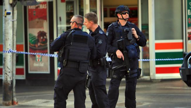 Police block off the intersection. Picture: Aaron Francis/The Australian