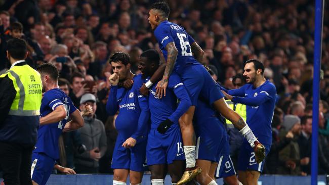 Alvaro Morata of Chelsea celebrates.