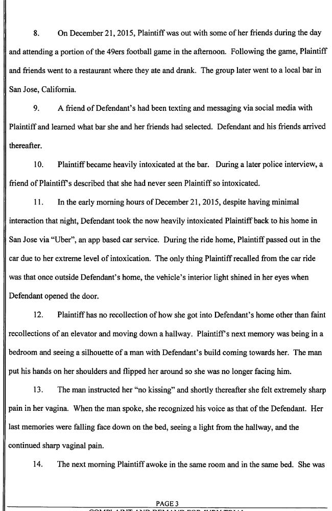 The suit claims Hayne engaged in non-consensual sexual intercourse with a California woman named J.V in December 2015