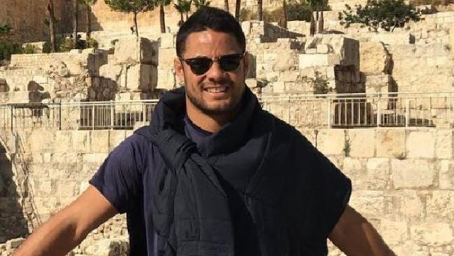 Jarryd Hayne in Jerusalem earlier this month. Source Instagram @jarrydhayne38