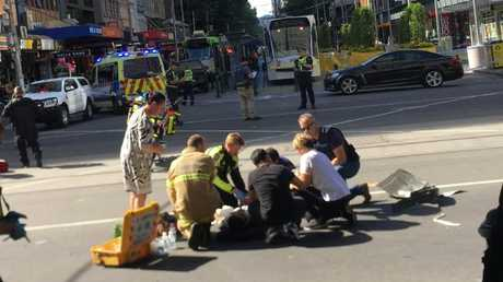 People have been hit in Melbourne CBD. Picture: Sophie Smith
