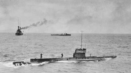 The lost Australian submarine AE1 with warships HMAS Australia and HMAS Yarra off Rabaul in 1914. The sub was lost with all 35 crew. Picture: Australian War Memorial