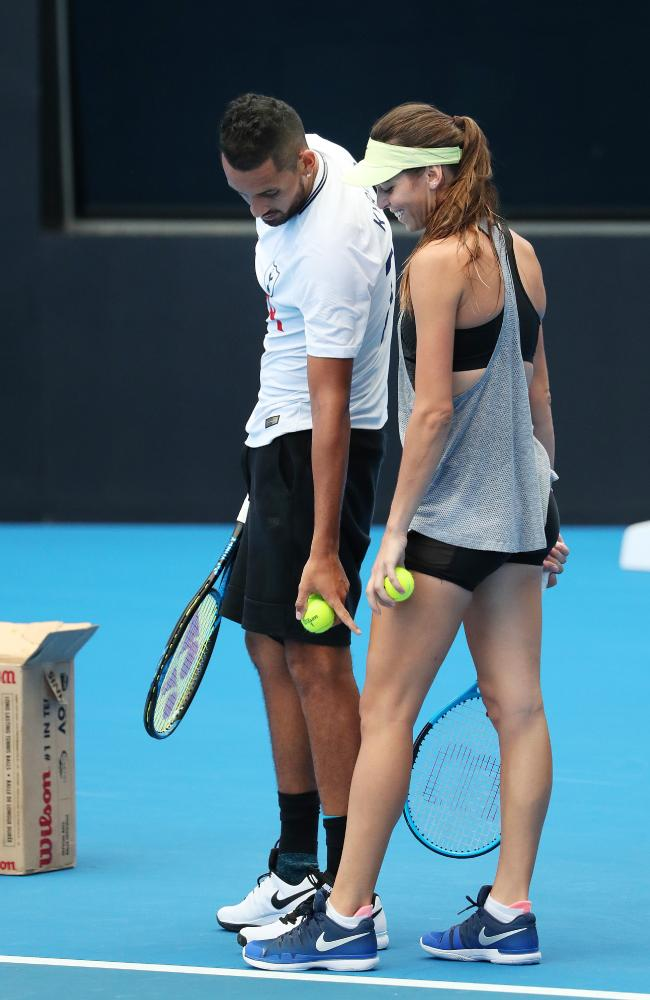World No.21 Nick Kyrgios with girlfriend Alja Tomljanovic and practice partner at the Queensland Tennis Centre. Picture: Liam Kidston