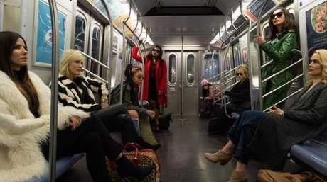 A scene from Ocean's 8, starring an all female cast including Sandra Bullock, Cate Blanchett, Rihanna, Mindy Kaling and Anne Hathaway.