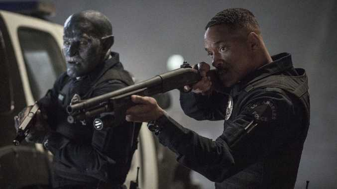 Joel Edgerton and Will Smith in a scene from the movie Bright.
