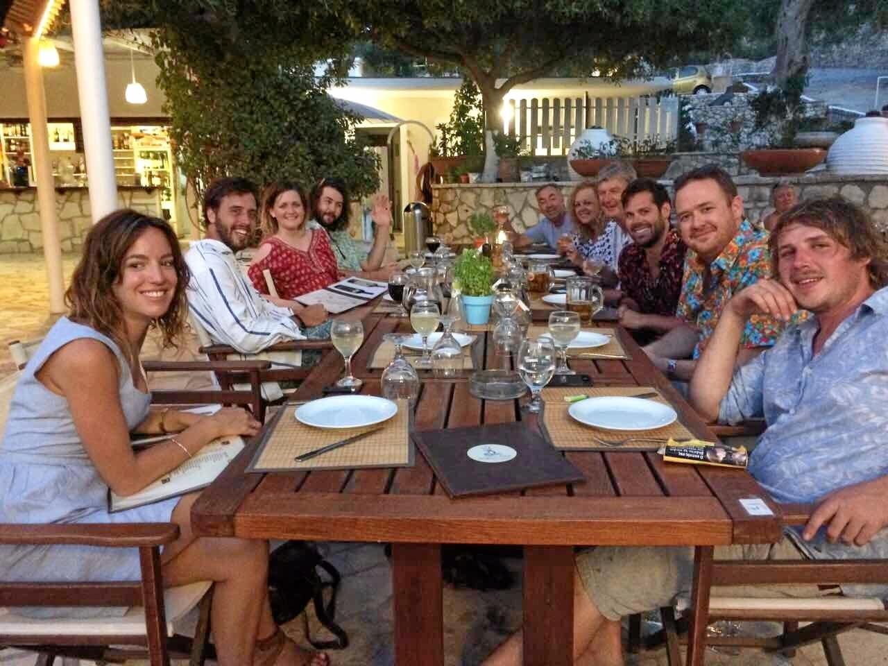 The honeymoon party ready to enjoy another Greek island feast.